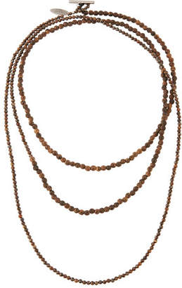 Brunello Cucinelli Mixed Wood and Hematite Long Wrap Necklace