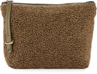 Kelsi Dagger Commuter Faux-Shearling Evening Clutch Bag, Olive/Multi $65 thestylecure.com