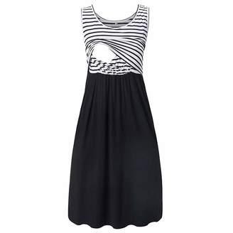 edc6ce7cdfe3d Toys & Games Sagton Women Pregnant Dress Summer Maternity Stripe Tunic  Breastfeeding Dress Bobbleheads