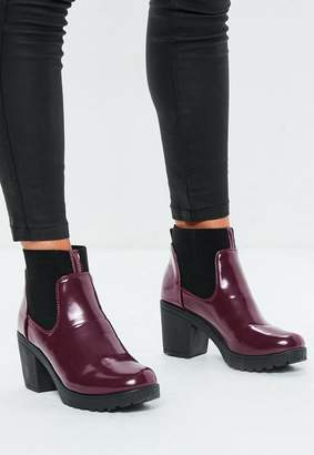 Missguided Burgundy High Shine Chunky Chelsea Boots