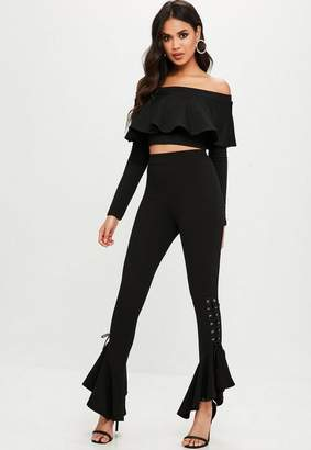 Missguided Lace Up Frill Trousers