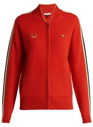 Bella Freud Race Track Zip Up Wool Track Jacket - Womens - Red