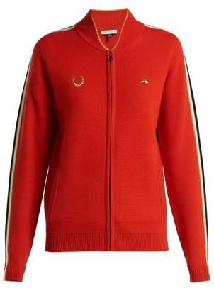 Bella Freud - Race Track Zip Up Wool Track Jacket - Womens - Red