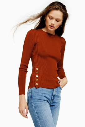 Topshop Button Side Knitted Top