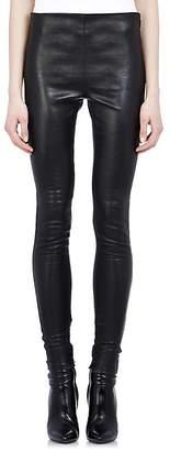 Saint Laurent Women's Ankle-Zip Leather Leggings