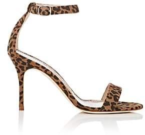 Manolo Blahnik Women's Chaos Suede Sandals-Leopard Suede