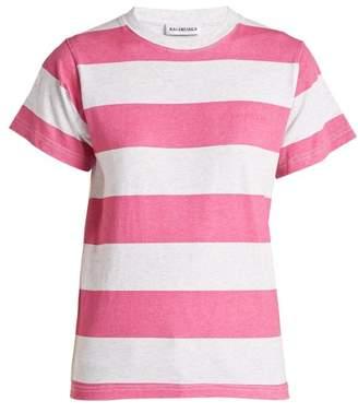 Balenciaga Striped Cotton T Shirt - Womens - Pink Multi
