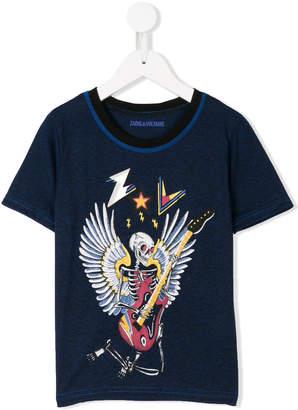 Zadig & Voltaire Kids skeleton embroidered T-shirt
