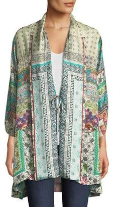 Johnny Was Samira Long Silk Kimono Jacket, Plus Size