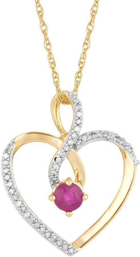 10k Gold Ruby & 1/8 Carat T.W. Diamond Infinity Heart Pendant Necklace