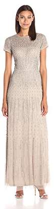 Adrianna Papell Women's Short-Sleeve Fully Beaded Gown