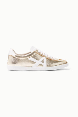 Aquazzura The A Metallic Textured-leather Sneakers - Gold