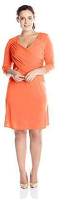 NY Collection Women's Plus-Size B-Slim Cross-Front Dress