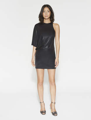 Halston Asymmetric Metallic Jersey Dress