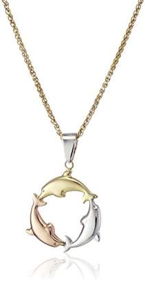 14k -Bonded Sterling Silver Tri-Color Dolphin Pendant Necklace