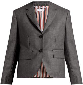 Thom Browne Striped Wool Suit Jacket - Womens - Dark Grey