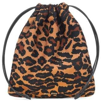 Miu Miu Leopard drawstring pouch
