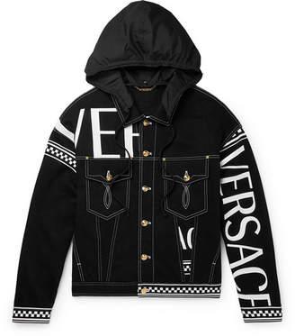 Versace Logo-print Hooded Denim Jacket - Black
