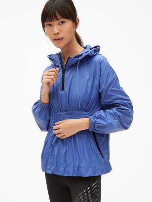 Gap GapFit Packable Popover Windbreaker with Smocked Waist