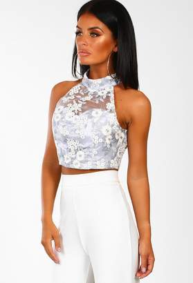 d88b03ed5eea70 Pink Boutique Lady Glam Blue Embroidered Mesh Crop Top