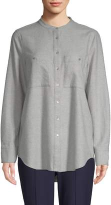 Eileen Fisher Mandarin Collar Cotton Button-Down Shirt