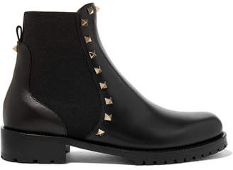 Valentino Garavani The Rockstud Leather Chelsea Boots - Black