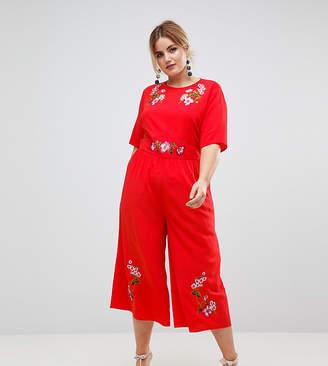 Asos Embroidered Tea Jumpsuit