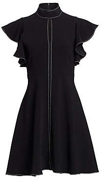 Cinq à Sept Women's Reiko Flutter-Sleeve Contrast Stitch Dress
