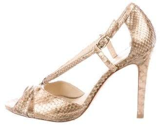 Alexandre Birman Snakeskin High-Heel Sandals