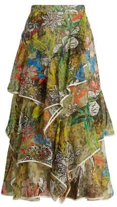 Peter Pilotto Asymmetric Floral Print Silk Georgette Skirt - Womens - Green Print