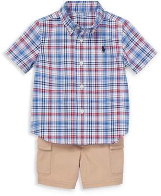 Ralph Lauren Childrenswear Baby Boy's 3-Piece Cotton Button-Down Shirt, Cargo Shorts Belt Set