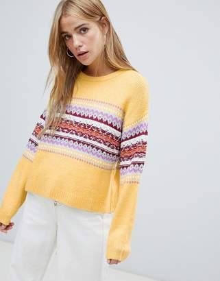 Pull&Bear fairisle panel stripe sweater