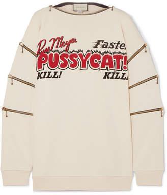 Gucci Zip-detailed Printed Cotton-jersey Sweatshirt - Ivory