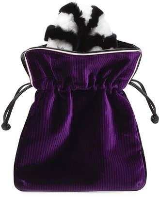 Les Petits Joueurs Trilly Velvet Fur-Handle Pochette Clutch Bag