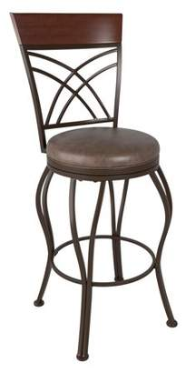 CorLiving Jericho Metal Bar Height Barstool with Rustic Brown Bonded Leather Seat