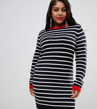 fea132521e7 ... Brave Soul Plus striped dress with cuffed sleeves
