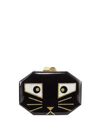 Rafe Animalia Black Cat Octagon Minaudiere Bag