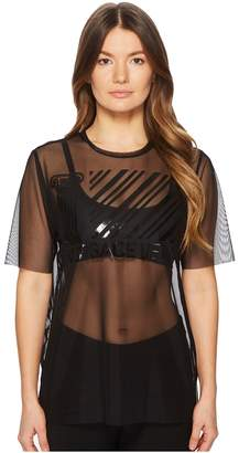 Versace Sheer Designed Brand Short Sleeve Top