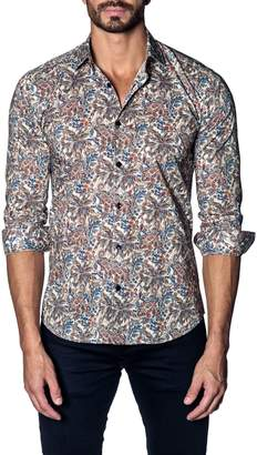 Jared Lang Slim Fit Paisley Print Sport Shirt