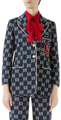 Gucci GG Jersey Single-Breasted Jacket w/ Preppy Patch