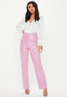Missguided Pink Faux Leather Straight Leg Pants