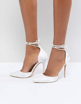 Leila Be Mine Bridal Ivory Satin Ankle Tie Pumps