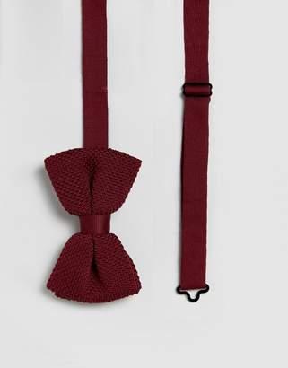 Asos DESIGN knitted bow wedding tie in burgundy