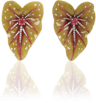 Silvia Furmanovich Sculptural Botanical Marquetry Green Leaf Earrings