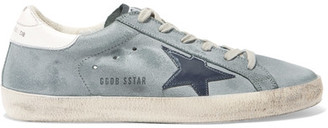 Golden Goose Deluxe Brand - Superstar Distressed Leather-paneled Suede Sneakers - Green $460 thestylecure.com