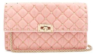Valentino Rockstud Spike Quilted Velvet Clutch - Womens - Light Pink