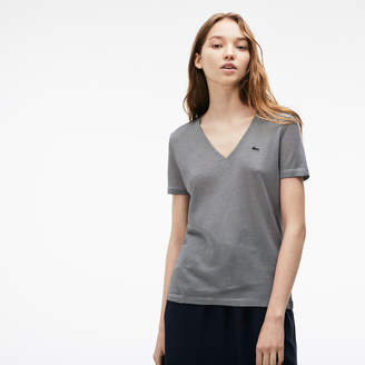 Lacoste Women's Pinstriped Ottoman T-Shirt