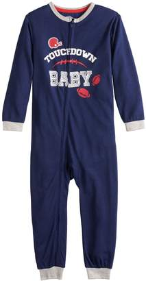 "Cuddl Duds Toddler Jammies For Your Families Sunday Funday ""Touchdown Baby"" One-Piece Pajamas"
