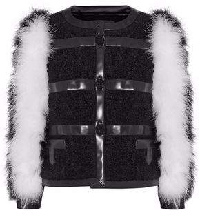 Philosophy di Lorenzo Serafini Feather-Paneled Faux Leather-Trimmed Mohair-Blend Jacket