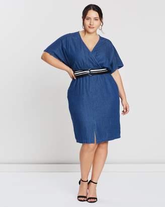 Denim Dress With Wrap And Belt